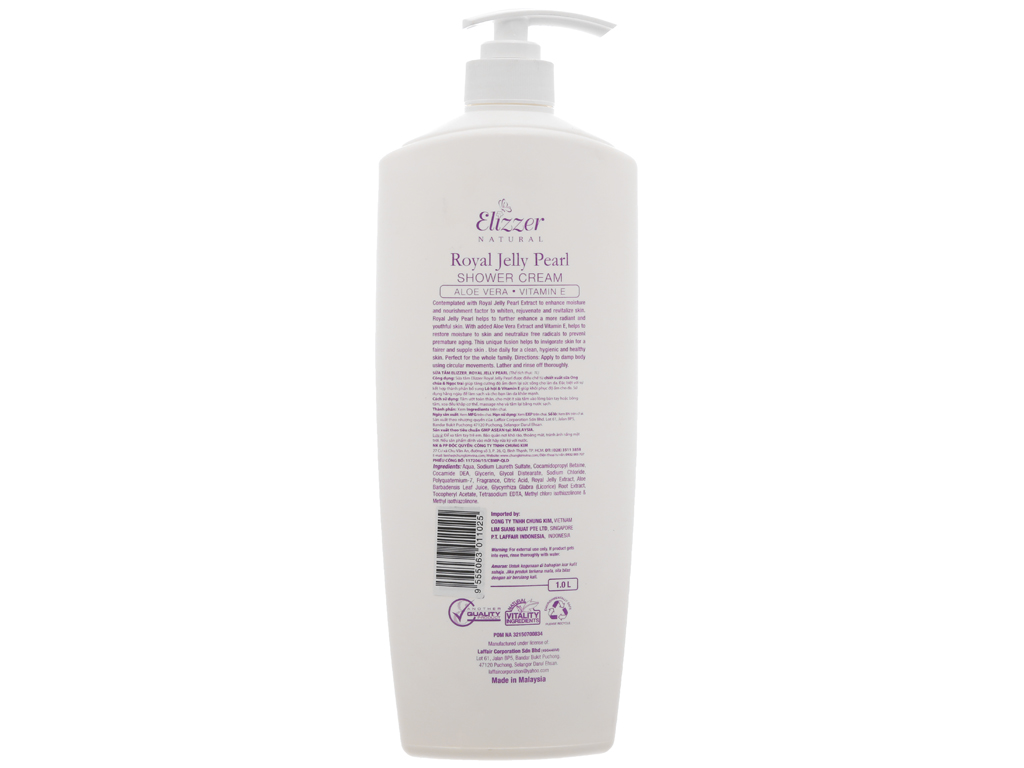 Sữa tắm Elizzer Natural sữa ong chúa và ngọc trai 1 lít 2