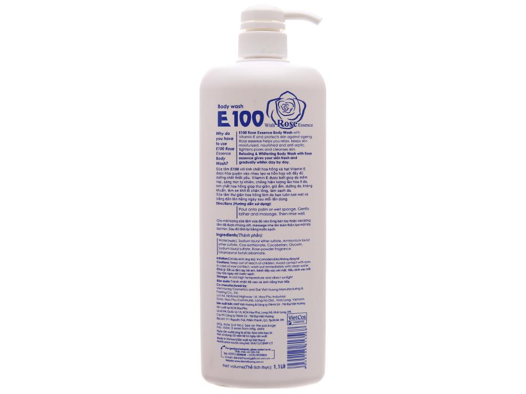 Sữa tắm trắng da E100 tinh chất hoa hồng 1.1l 3