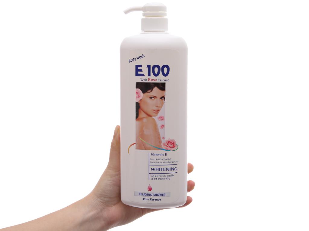 Sữa tắm trắng da E100 tinh chất hoa hồng 1.1l 4
