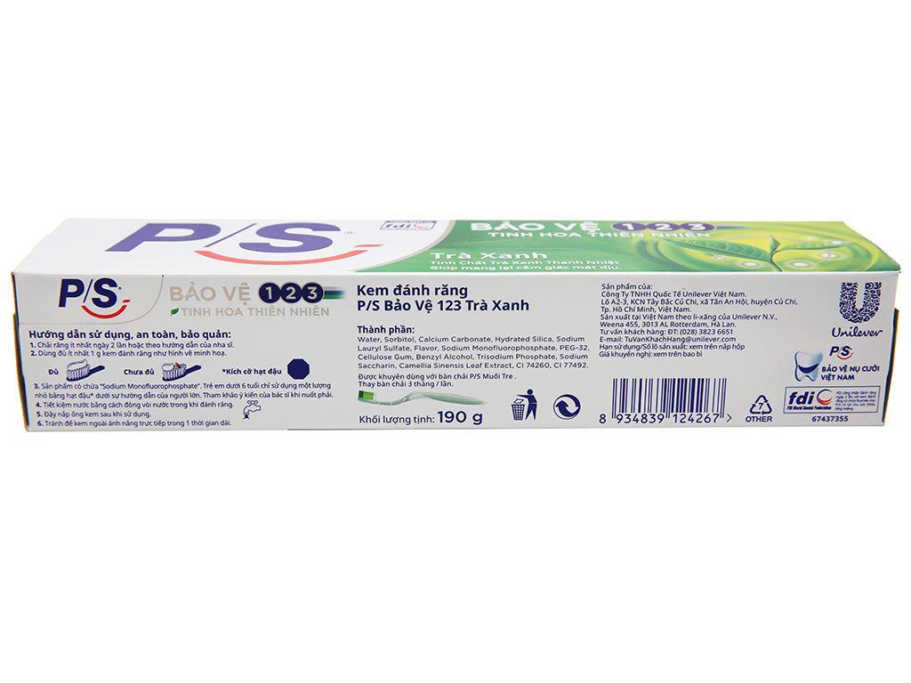 Kem đánh răng P/S bảo vệ 123 trà xanh thanh nhiệt 190g 3