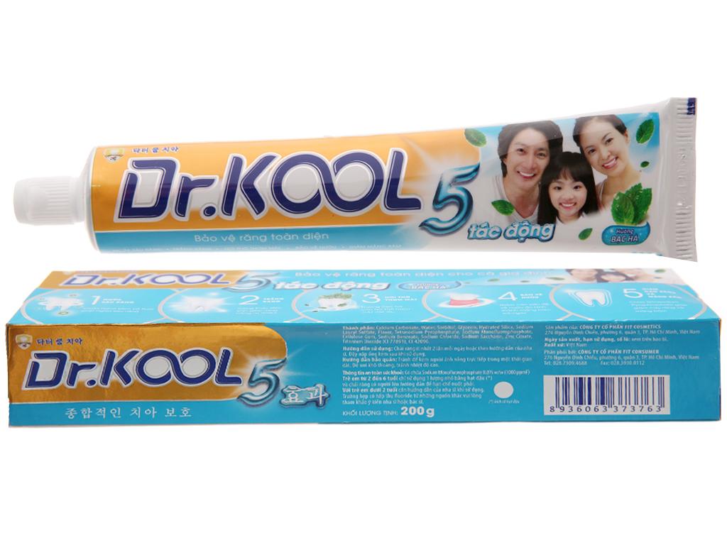 Kem đánh răng Dr. Kool 5 tác động hương bạc hà 200g 2
