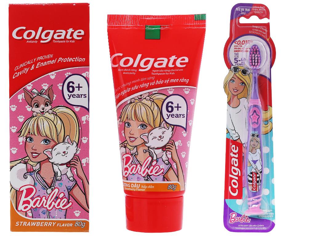 Bộ kem đánh răng + bàn chải Colgate Barbie 80g (tặng ly nước) 2