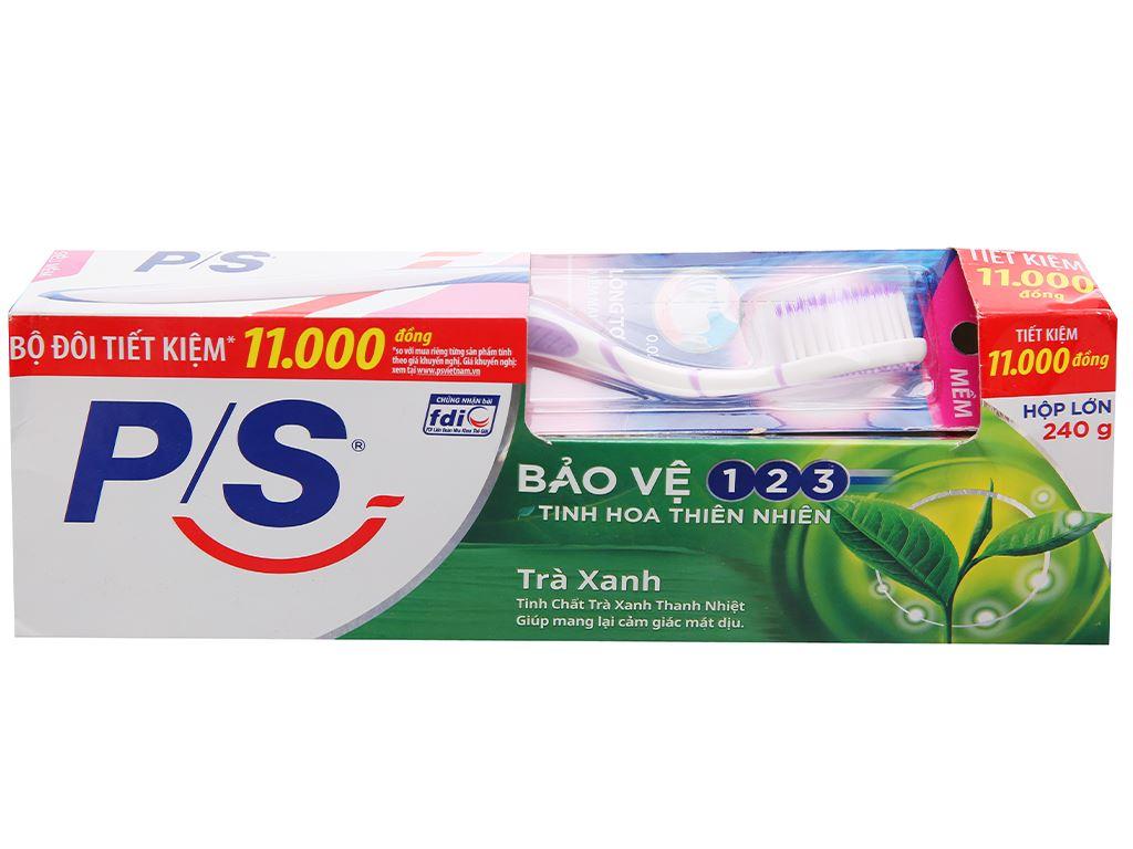 Bộ kem đánh răng và bàn chải đánh răng P/S trà xanh thanh nhiệt 240g 2