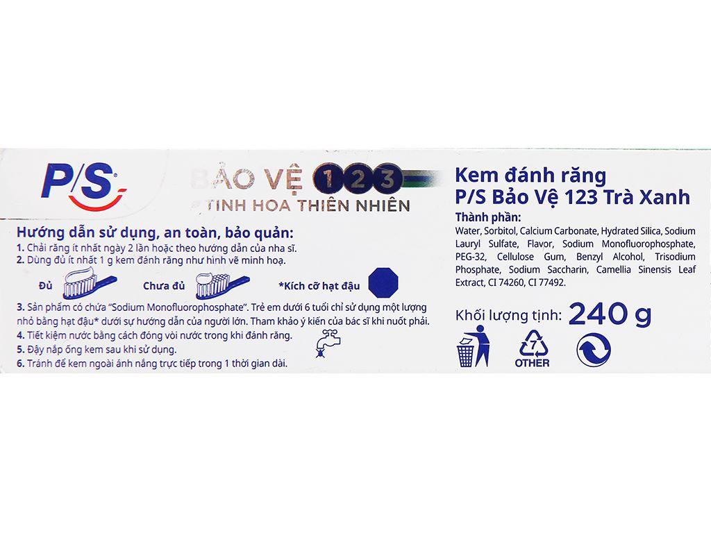 Bộ kem đánh răng và bàn chải đánh răng P/S trà xanh thanh nhiệt 240g 5