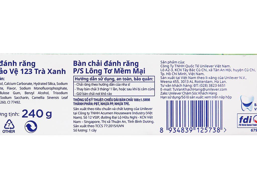 Bộ kem đánh răng và bàn chải đánh răng P/S trà xanh thanh nhiệt 240g 6