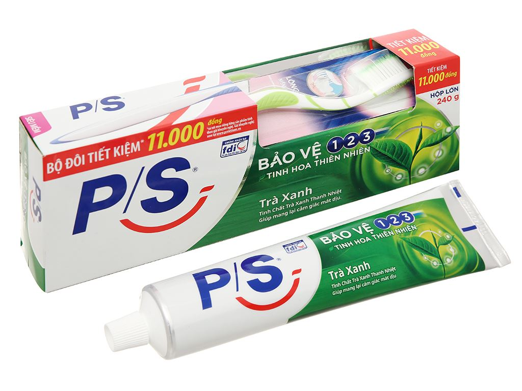 Bộ kem đánh răng và bàn chải đánh răng P/S trà xanh thanh nhiệt 240g 1