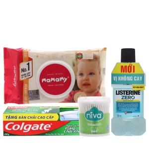 Combo kem đánh răng, nước súc miệng, bông ráy tai và khăn giấy ướt em bé