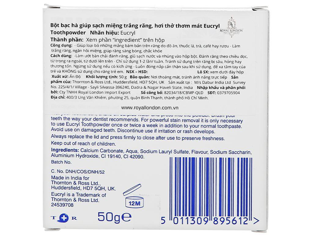 Bột đánh trắng răng Eucryl Toothpowder 50g 2