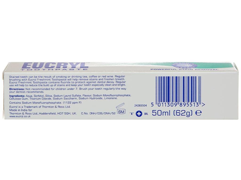 Kem đánh răng tẩy trắng Eucryl Toothpowder hương bạc hà 62g 2
