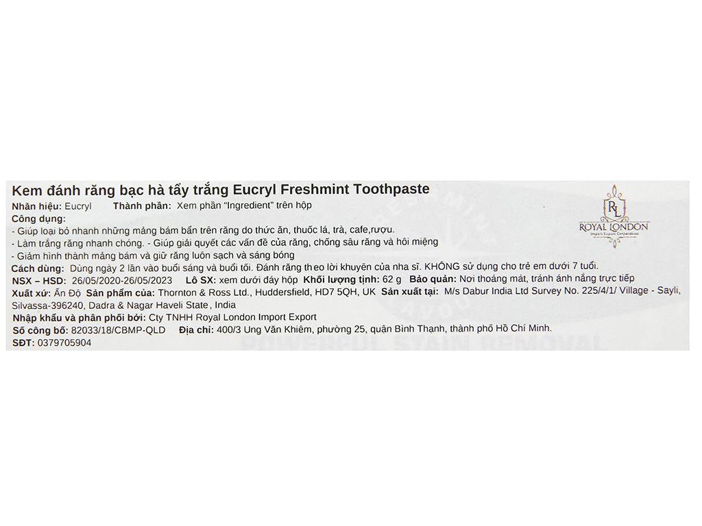Kem đánh răng tẩy trắng Eucryl Toothpowder hương bạc hà 62g 3