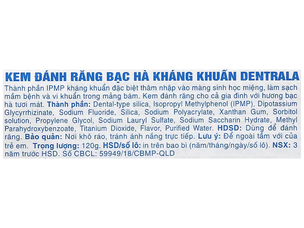 Kem đánh răng Dentrala bạc hà kháng khuẩn 120g 3