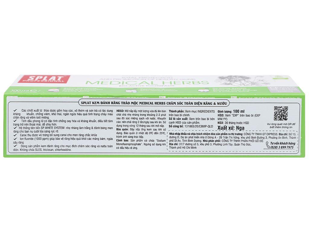 Kem đánh răng Splat thảo mộc Medical Herbs 100ml 3