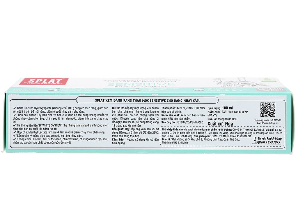 Kem đánh răng Splat thảo mộc Sensitive cho răng nhạy cảm 100ml 4