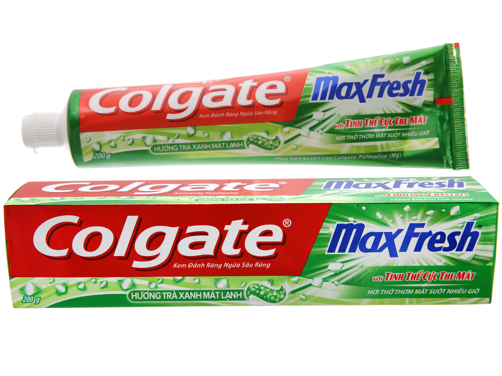 Kem đánh răng Colgate MaxFresh trà xanh cực the mát 200g 2