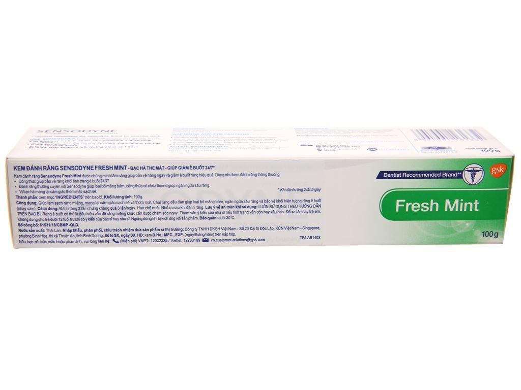 Kem đánh răng Sensodyne Fresh Mint giảm ê buốt 24/7 100g 3