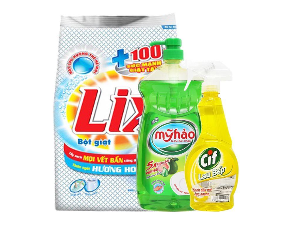 Combo bột giặt Lix, nước rửa chén Mỹ Hảo, lau bếp Cif 2