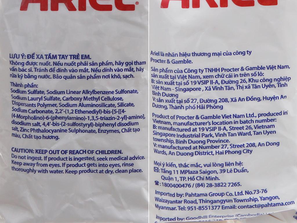 Bột giặt Ariel hương Nắng mai 720g 5