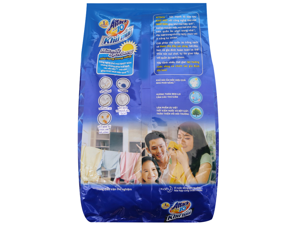 Bột giặt Attack Khử mùi Hương ngày sảng khoái 3.8kg 3