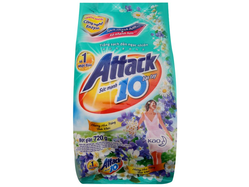 Bột giặt Attack hoa nắng tinh khôi 720g 2