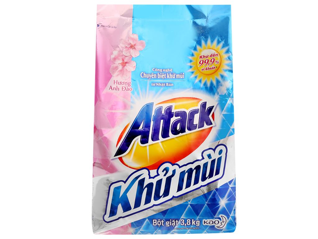 Bột giặt Attack khử mùi hương anh đào 3.8kg 1