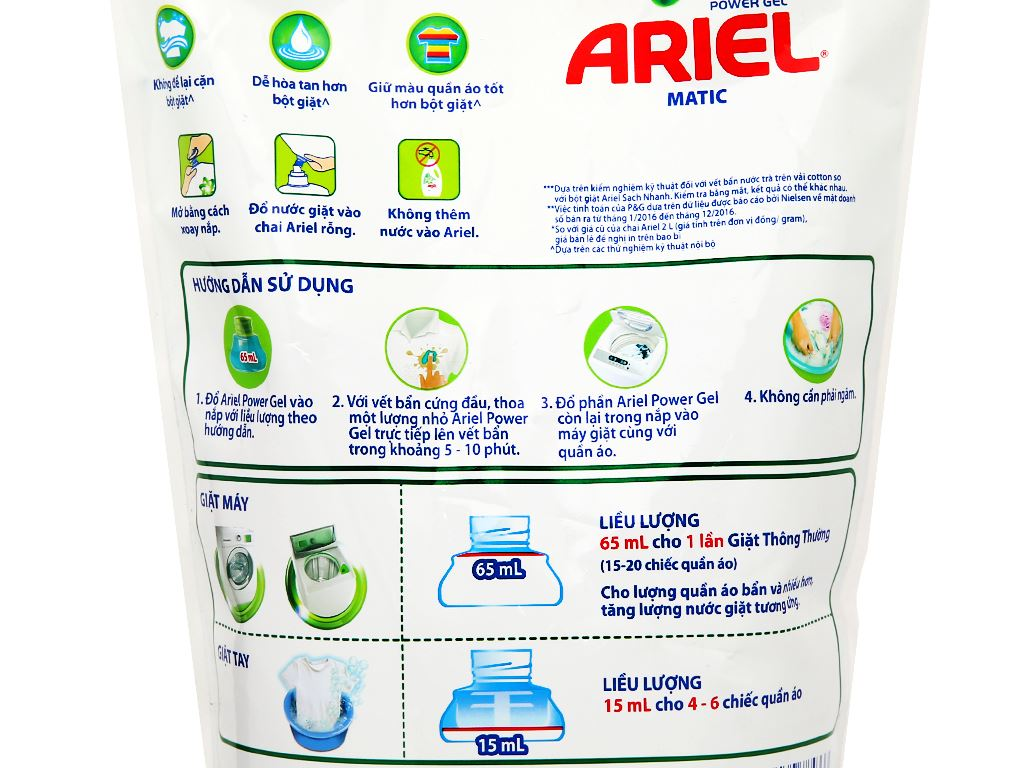 Nước giặt Ariel Matic túi 1.3 lít 3