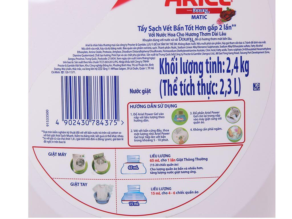 Nước giặt Ariel Matic Hương downy chai 2.4kg 5