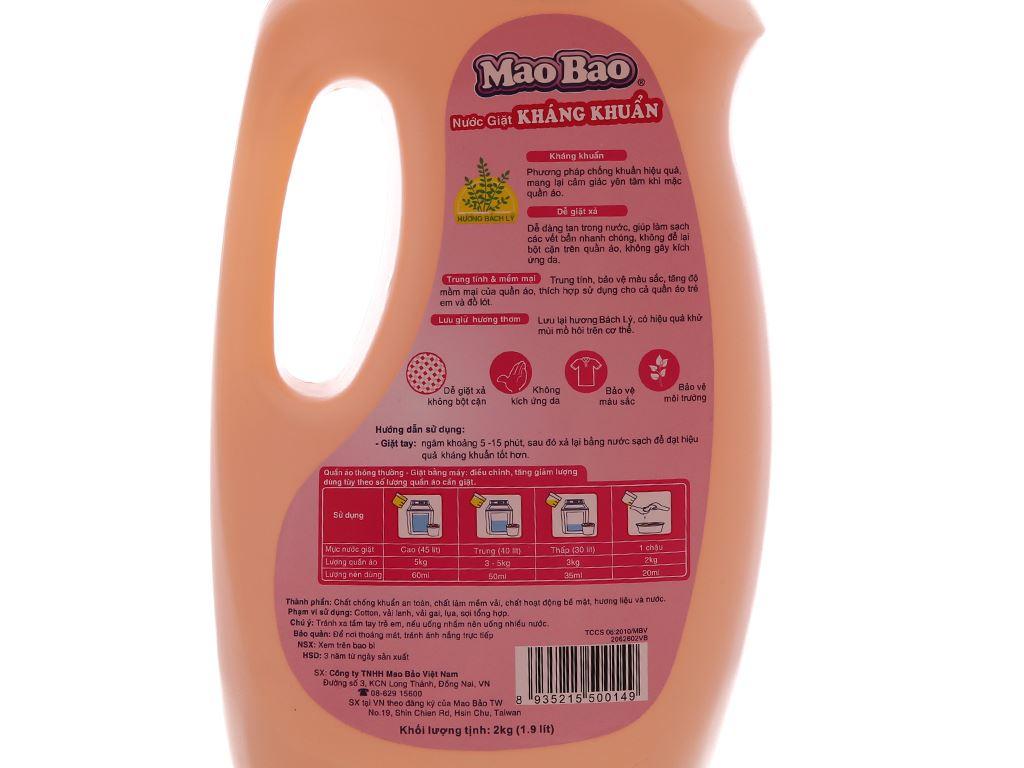 Nước giặt Mao Bao kháng khuẩn hương bách lý chai 1.9 lít 4