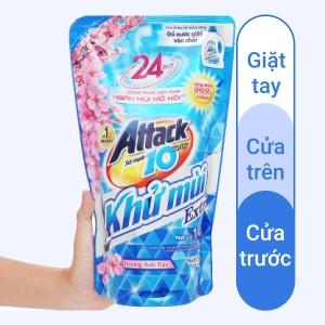 Nước giặt Attack Extra khử mùi hương hoa anh đào túi 1.4 lít