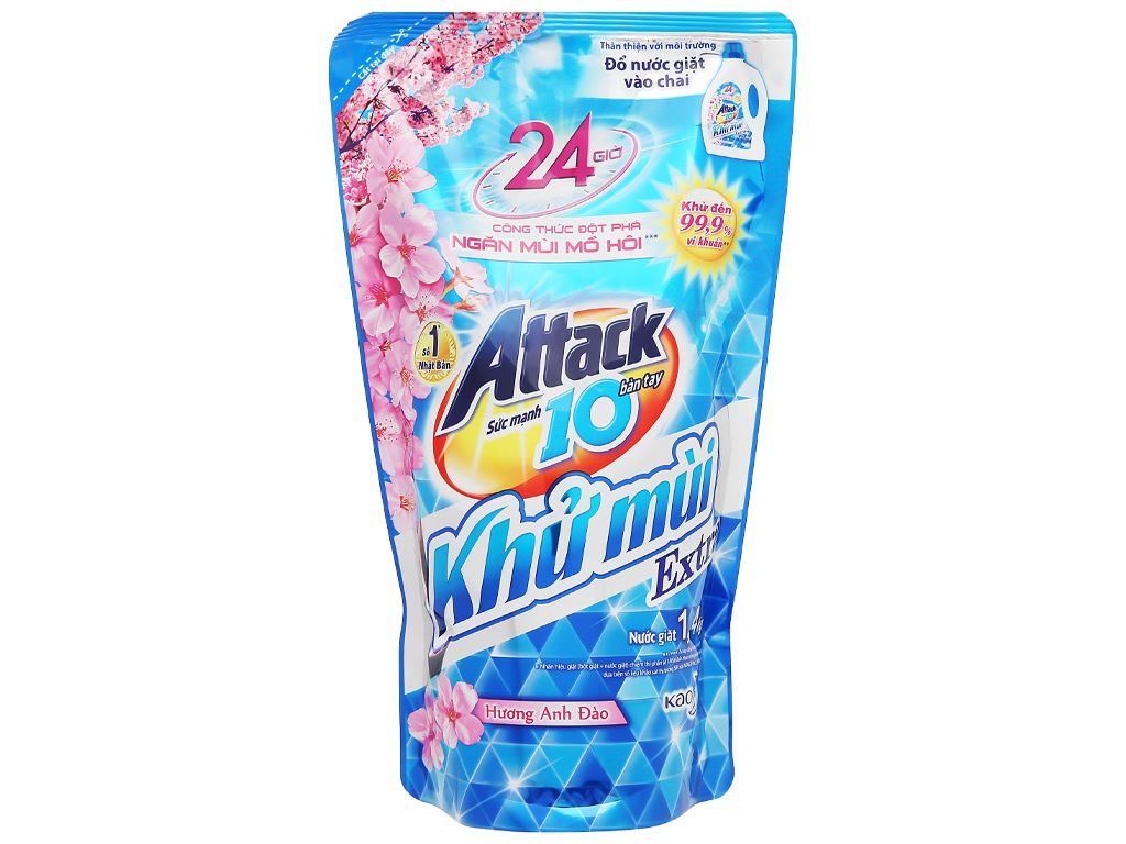 Nước giặt Attack Extra khử mùi hương hoa Anh Đào túi 1.4kg 1