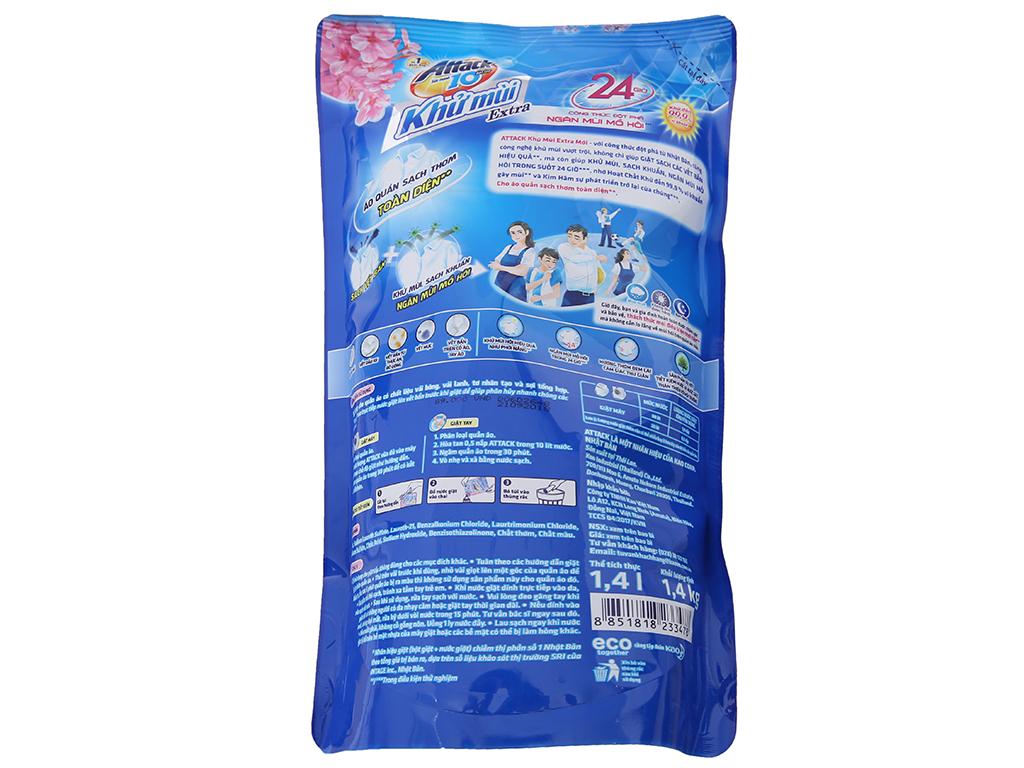 Nước giặt Attack Extra khử mùi hương hoa Anh Đào túi 1.4kg 3