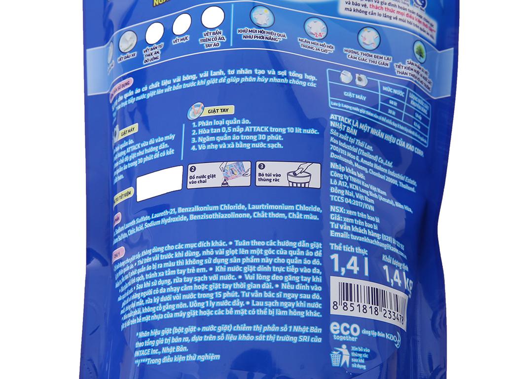 Nước giặt Attack Extra khử mùi hương hoa Anh Đào túi 1.4kg 4