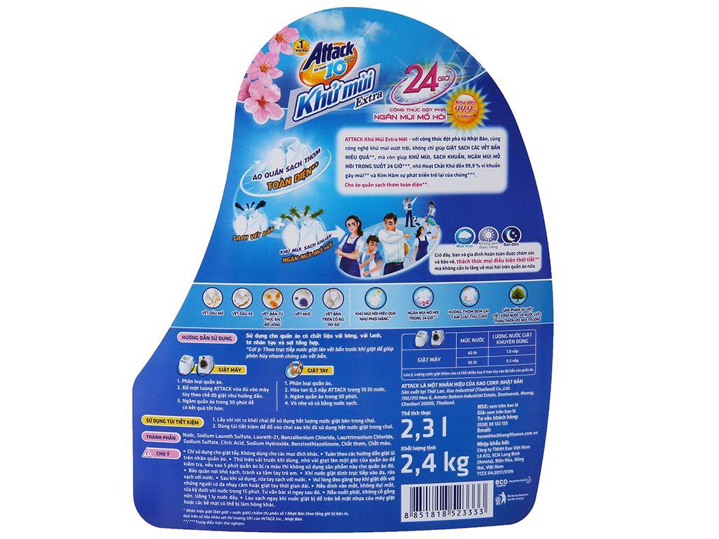 Nước giặt Attack hương hoa anh đào chai 2.3 lít 5
