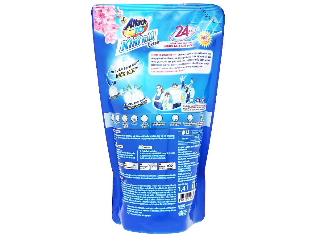 Nước giặt Attack Extra khử mùi hương hoa Oải Hương túi 1.4kg 2