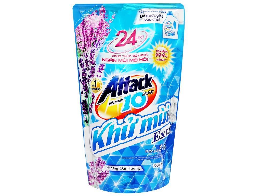 Nước giặt Attack Extra khử mùi hương hoa oải hương 1.4 lít 1