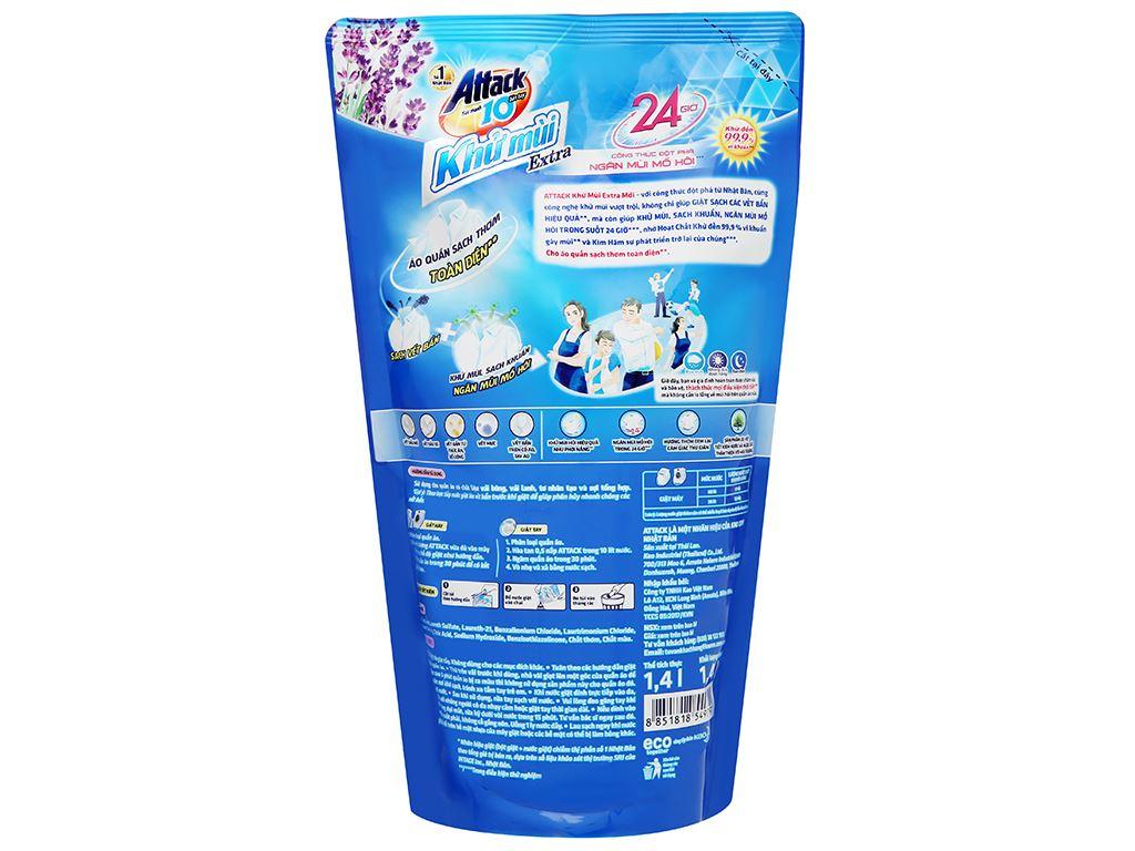 Nước giặt Attack Extra khử mùi hương hoa oải hương 1.4 lít 2