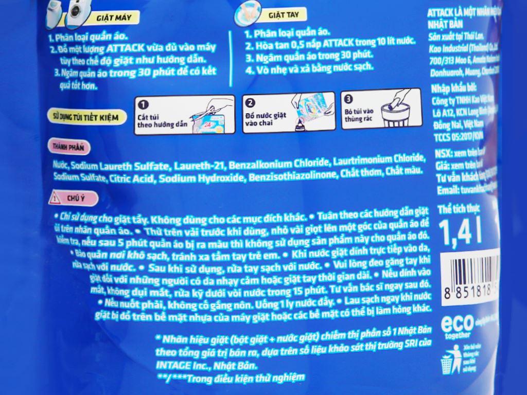Nước giặt Attack Extra khử mùi hương hoa oải hương 1.4 lít 3