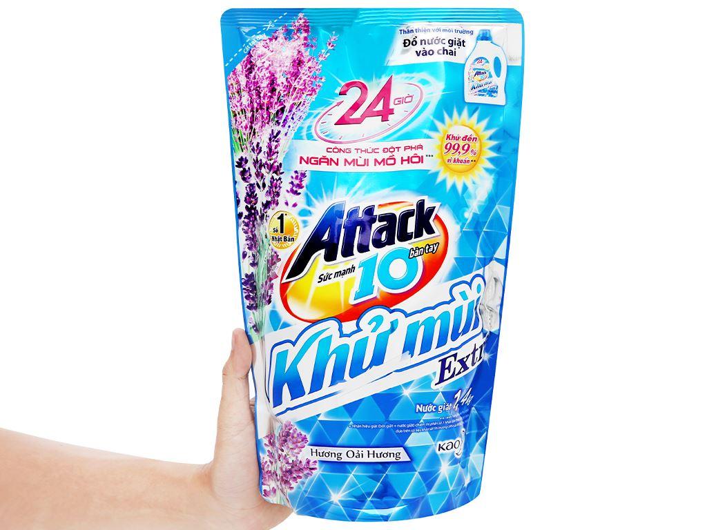 Nước giặt Attack Extra khử mùi hương hoa oải hương 1.4 lít 4