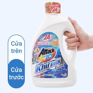 Nước giặt Attack Extra khử mùi hương hoa oải hương 2.4kg