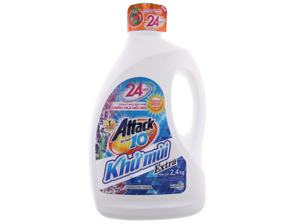 Nước giặt Attack Extra khử mùi hương hoa Oải Hương chai 2.4kg 2