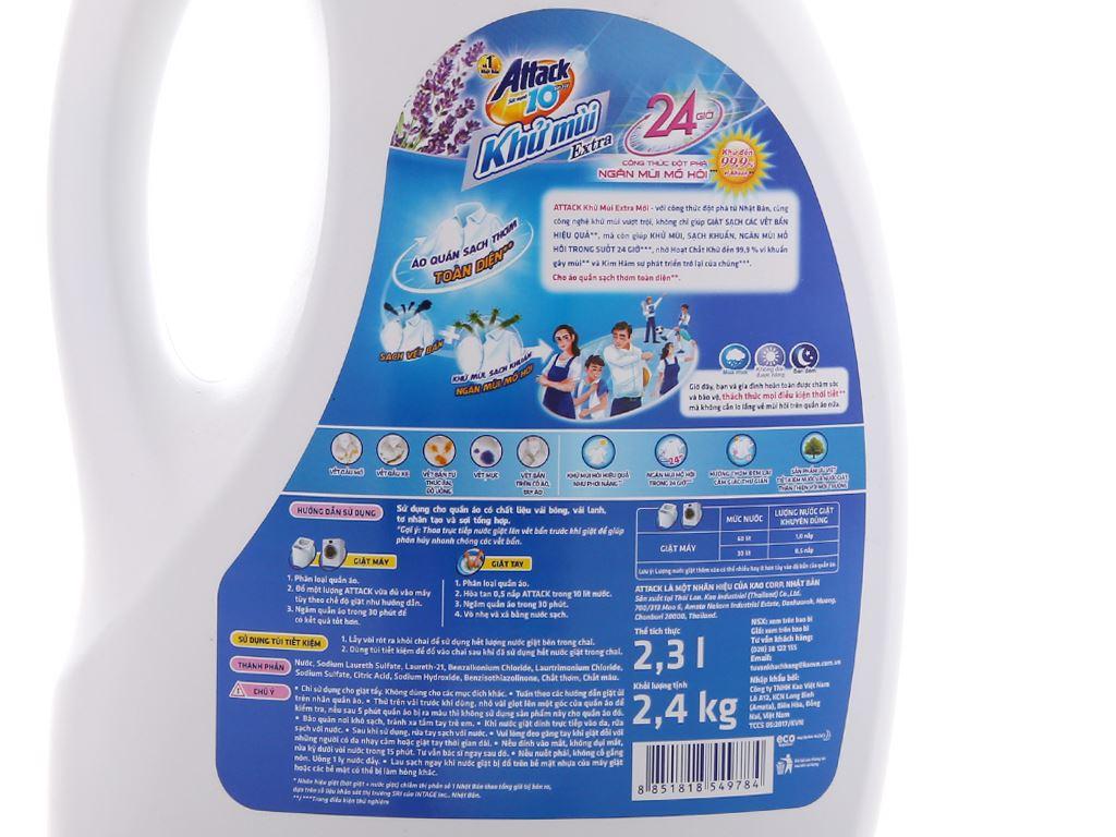Nước giặt Attack Extra khử mùi hương hoa Oải Hương chai 2.4kg 6