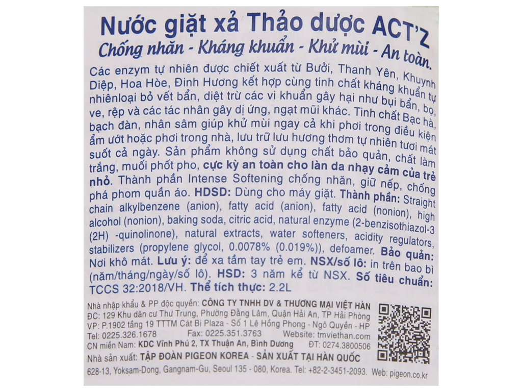Nước giặt xả Act'z kháng khuẩn hương thảo dược túi 2.2 lít 4