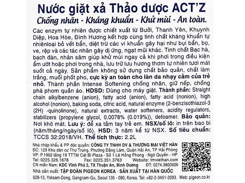 Nước giặt xả Act'z kháng khuẩn hương thảo dược túi 2.2 lít 3