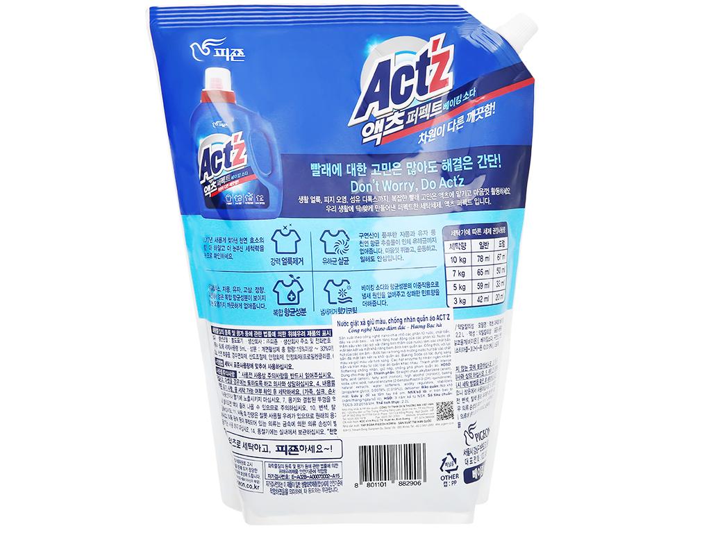 Nước giặt xả Act'z giữ màu & chống nhăn quần áo hương bạc hà túi 2.2 lít 2