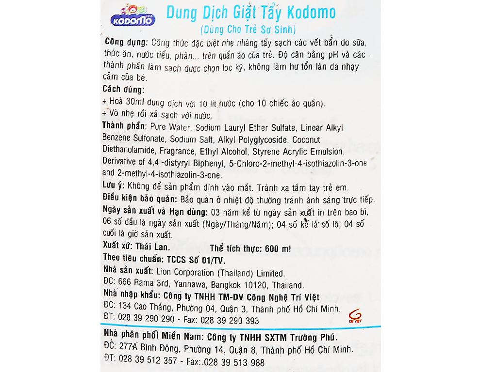Dung dịch giặt tẩy quần áo Kodomo xanh túi 600ml 3
