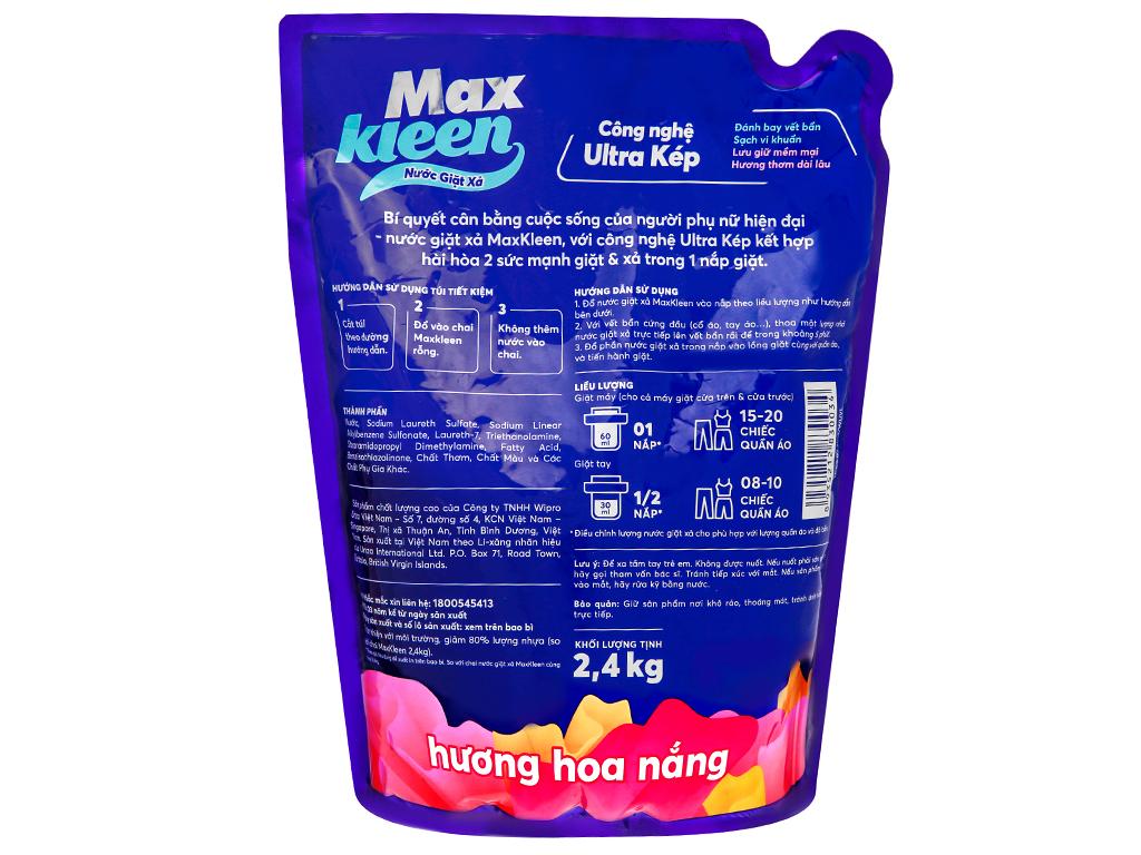 Nước giặt xả MaxKleen hương hoa nắng túi 2.4kg 2