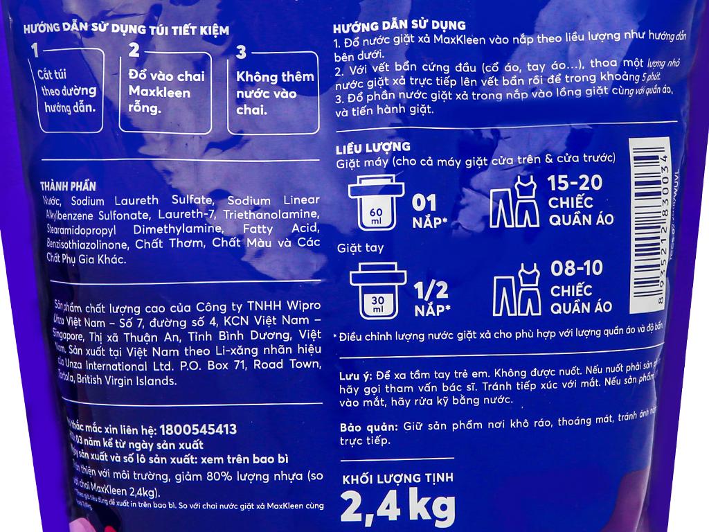 Nước giặt xả MaxKleen hương hoa nắng túi 2.4kg 3