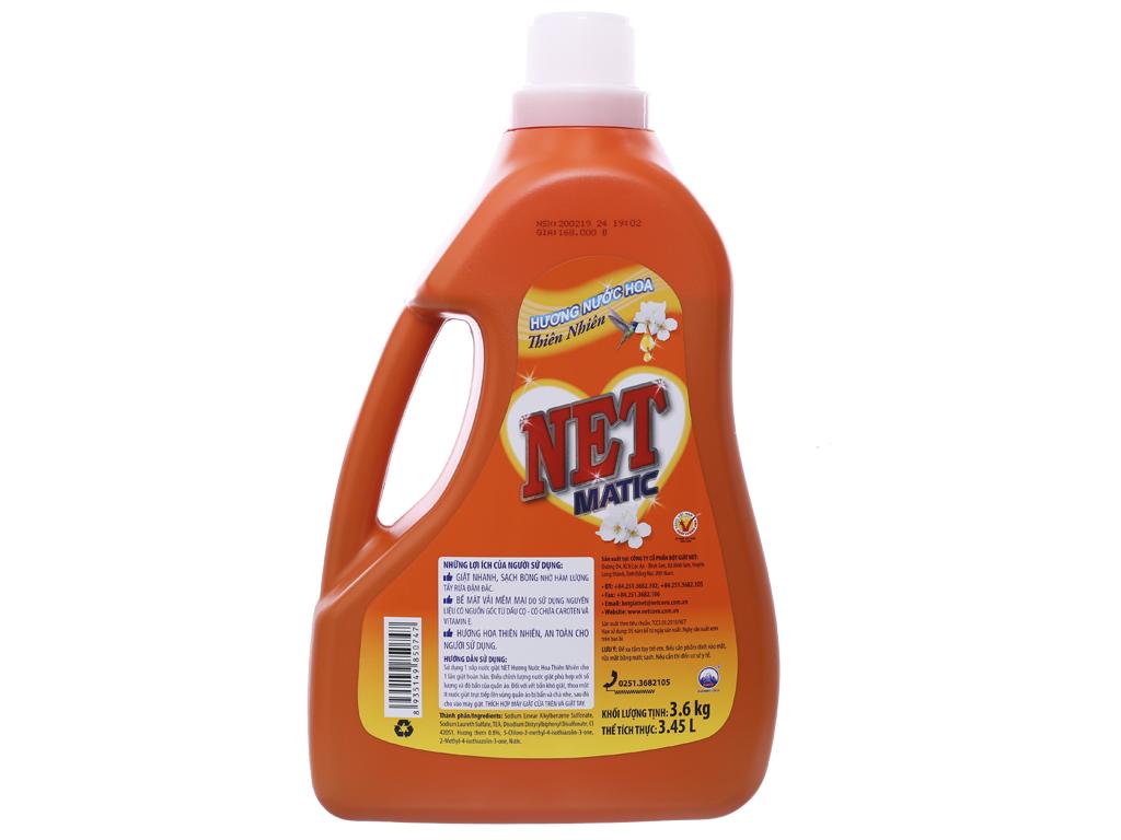 Nước giặt NET Matic hương nước hoa thiên nhiên chai 3.6kg 2