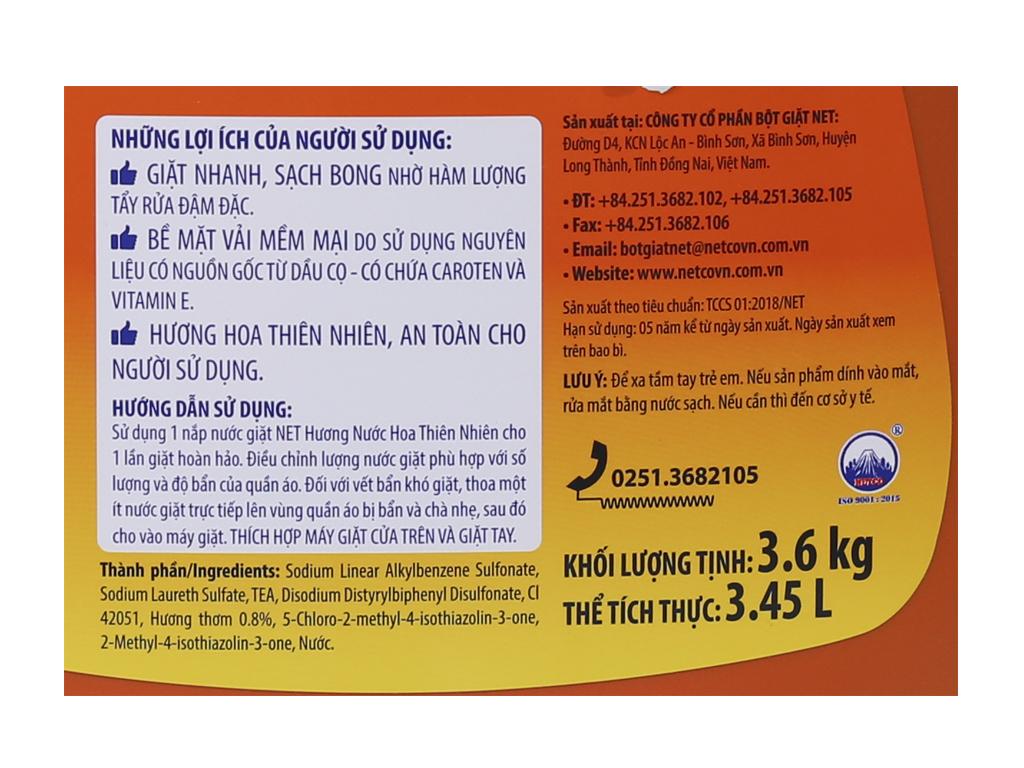 Nước giặt NET Matic hương nước hoa thiên nhiên 3.45 lít 4