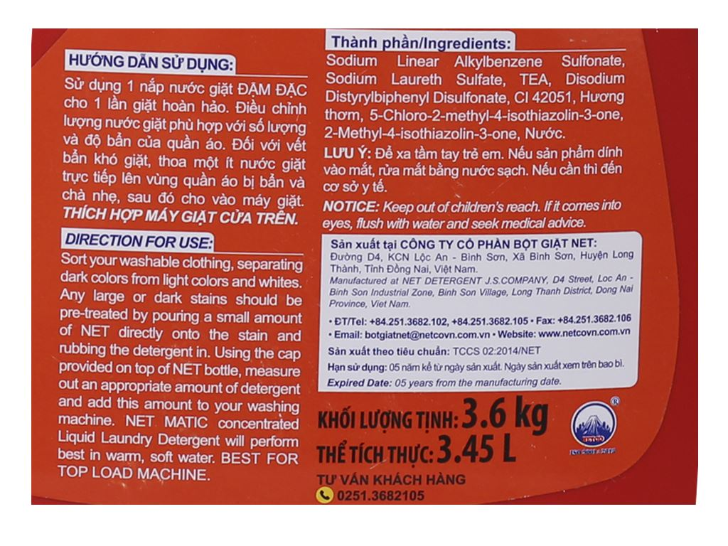 Nước giặt NET Matic chai 3.6kg 3