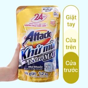 Nước giặt Attack Extra Matic ngăn mùi mồ hôi 1.2 lít